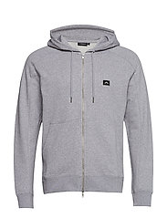 Throw Zip Hood Ring loop sweat - LT GREY MELANGE