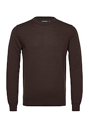 Lyle Merino Crew Neck Sweater - DARK BROWN