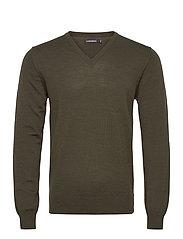 Lymann Merino V-Neck Sweater - MOSS GREEN