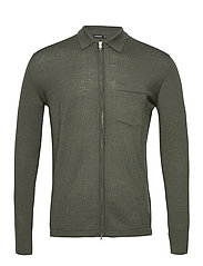 Nyle Merino Zip Cardigan - LAKE GREEN MELANGE
