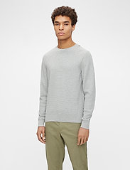 J. Lindeberg - Andy Structure C-Neck Sweater - basic-strickmode - stone grey melange - 0