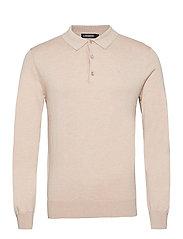 Rowan Cotton Silk LS Polo - SAND GREY