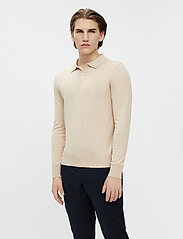 J. Lindeberg - Rowan Cotton Silk LS Polo - langärmelig - sand grey - 0