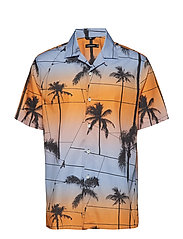 David SS Resort-Printed Palm - COOL PEACH