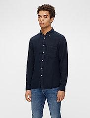 J. Lindeberg - Clean Linen Slim Shirt - basic-hemden - jl navy - 0