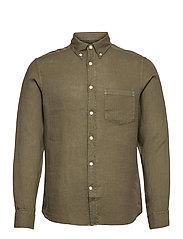 Clean Linen Slim Shirt - LAKE GREEN