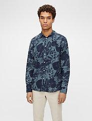 J. Lindeberg - Seasonal Print Reg Fit Shirt - leinenhemden - jl navy - 0