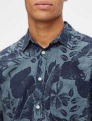 J. Lindeberg - Seasonal Print Reg Fit Shirt - leinenhemden - jl navy - 7