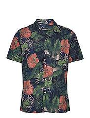 Seasonal Print SS Resort Shirt - BLACK
