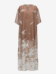 Layla Placement Print - maxi dresses - nude