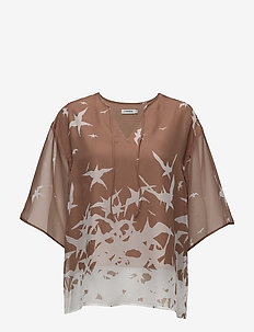 Ilina Placement Print - short-sleeved blouses - nude