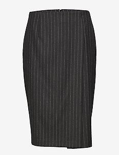 Silva Wool Pin - midi skirts - black stripe