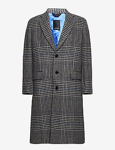 James Wool Plaid - uldfrakker - wonder blue