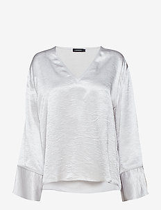 Lucienne Metallic Drapy - long sleeved blouses - lt grey