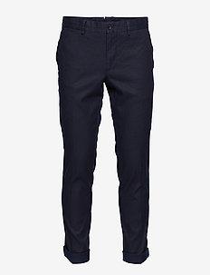 Grant Cotton Linen Stretch - pantalons habillés - jl navy