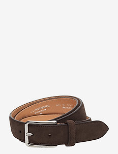 S-BELT 52033 Cow Suede - DARK BROWN
