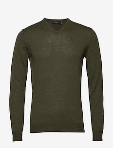 Newman V-neck-Perfect Merino - basic knitwear - covert green
