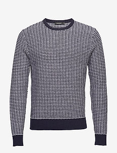 Chester-Structure knit - rund hals - jl navy