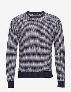 Chester-Structure knit - knitted round necks - jl navy