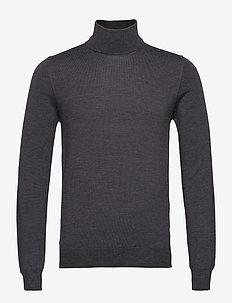 Lyd Merino Turtleneck Sweater - basic knitwear - dark grey melange