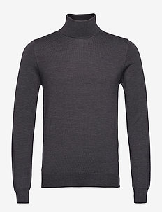 Lyd Merino Turtleneck Sweater - stickade basplagg - dark grey melange