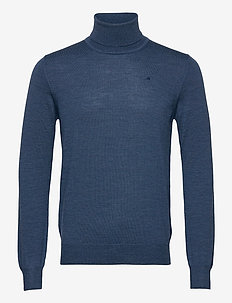 Lyd Merino Turtleneck Sweater - basic-strickmode - egyptian blue melange