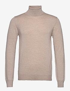Lyd Merino Turtleneck Sweater - basic knitwear - sand beige