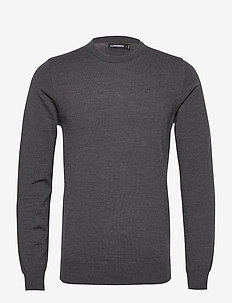 Lyle Merino Crew Neck Sweater - truien met ronde hals - dark grey melange