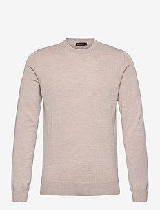 Lyle Merino Crew Neck Sweater - knitted round necks - sand beige