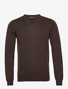 Lymann Merino V-Neck Sweater - v-ausschnitt - dark brown
