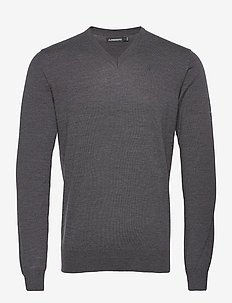 Lymann Merino V-Neck Sweater - v-hals - dark grey melange