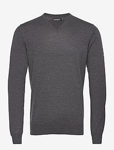 Lymann Merino V-Neck Sweater - knitted v-necks - dark grey melange