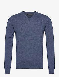 Lymann Merino V-Neck Sweater - truien met v-hals - egyptian blue melange