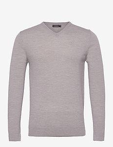 Newman Merino V-neck - basic-strickmode - stone grey melange