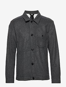 Dolph-Flat Wool - basic shirts - dark grey melange
