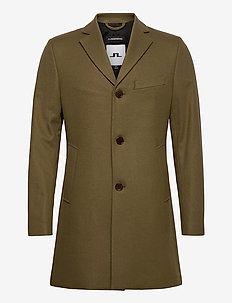 Wolger Compact Melton Coat - wool coats - moss green