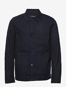 Eric Cotton Linen Jacket - oberteile - jl navy