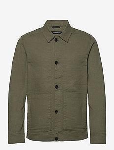 Eric Cotton Linen Jacket - oberteile - lake green