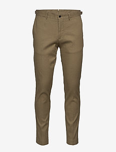 Grant-Cotton linen stretch - casual trousers - covert green