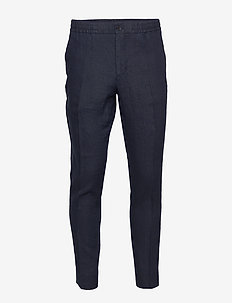 Sasha-Drape Linen - suit trousers - jl navy