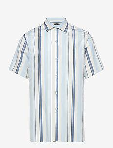 David SS Resort-Pop Stripe - overhemden korte mouwen - work blue