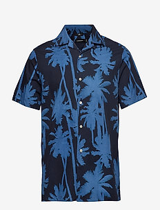 David SS Resort-Seasonal Print - kortærmede skjorter - jl navy