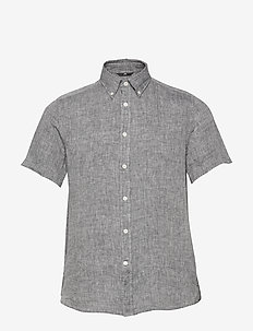 Daniel SS-Linen Melange - basic shirts - jl navy