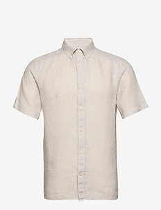 Fredrik BD SS-Clean Linen - basic skjorter - cloud grey