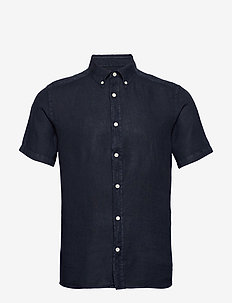Fredrik BD SS-Clean Linen - basic shirts - jl navy