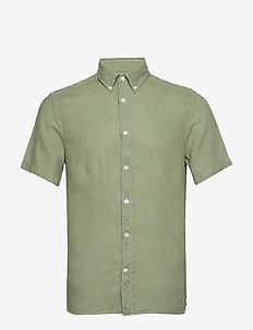 Fredrik BD SS-Clean Linen - chemises basiques - sage green