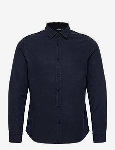 Tencel Slub Texture Slim Shirt - podstawowe koszulki - jl navy