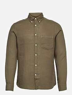 Clean Linen Slim Shirt - basic-hemden - lake green