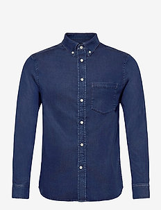 Indigo Soft Stretch Slim Shirt - basic-hemden - mid blue
