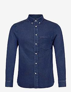 Indigo Soft Stretch Slim Shirt - karierte hemden - mid blue